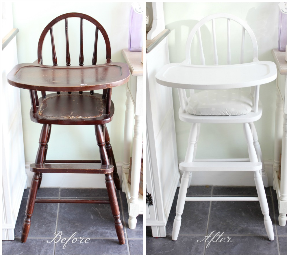 Vintage wooden high chair - Vintage Wooden High Chair 13